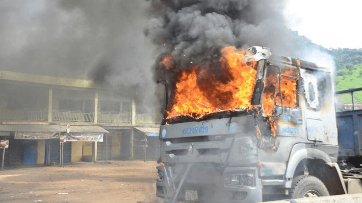 Angried Mob Sets Two Dangote Trucks On Fire