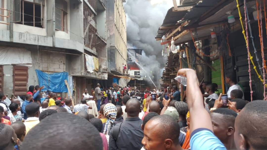 Update: Four Storey Building Collapses In Balogun Market Fire