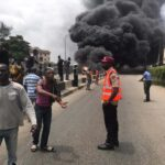 BREAKING: Fire Guts Bus On Third Mainland Bridge