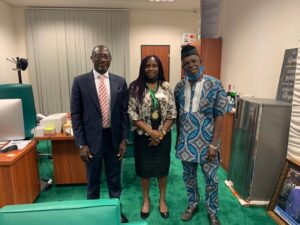 L-R:   Hon. Amos Gwamna Magaji, House of Rep member representating Zangon Kataf/Java Federal Constituency) Kaduna State); ASSP President, Mrs. Mercy Omoifo-Irefo; and, Past President ASSP Nigeria, Felix Nakpodia.
