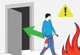 Backing the exit door while fighting fire