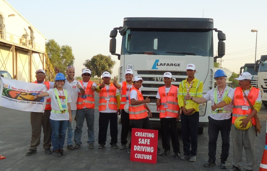 António Pedro in Myanmar Asia with Lafarge cement truck drivers.