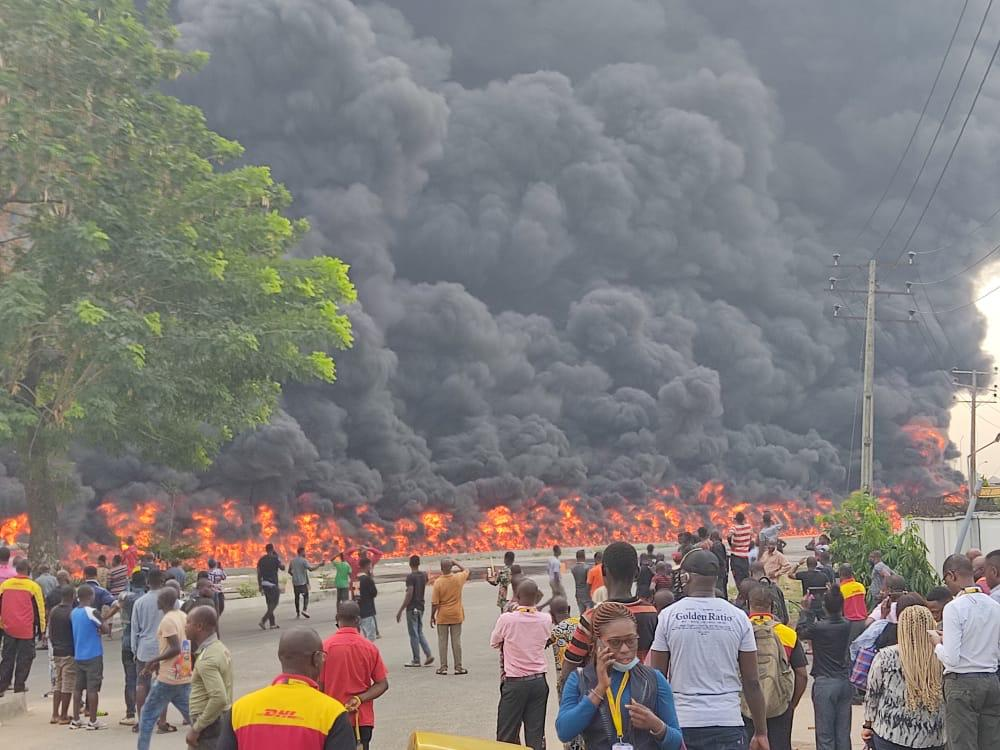 Breaking: Panic As Oil Tanker Explodes Along Oshodi-Apapa Expressway