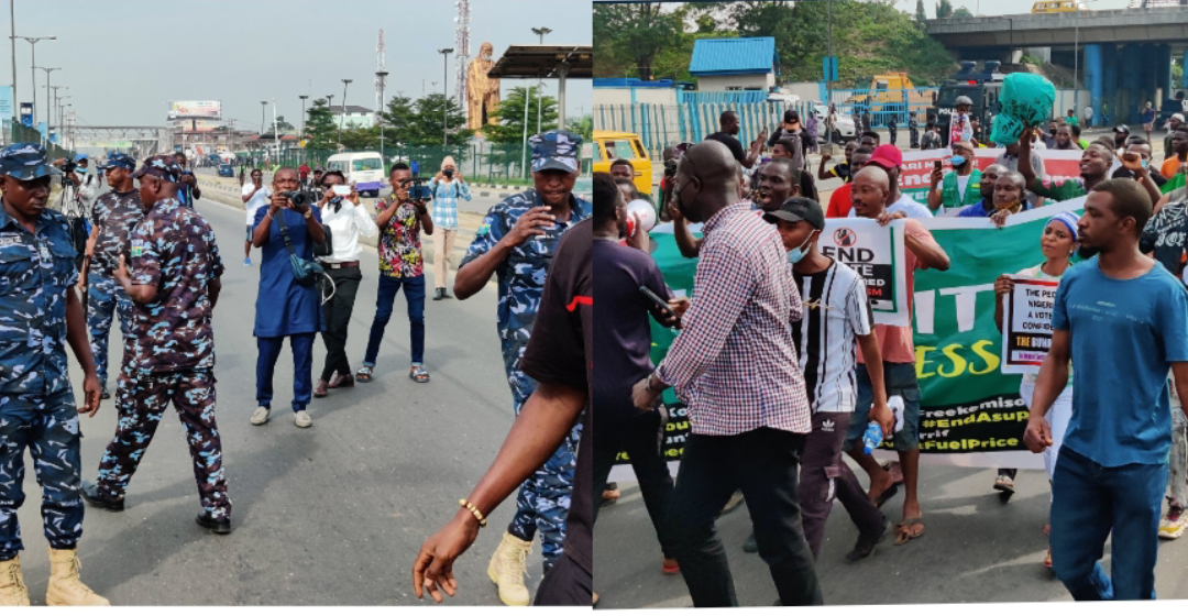 Police Barricades Eko bridge, shoot and  teargas at Protesters in Ojota